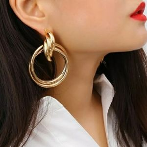 Gold Knot Style Metal Clip On Earrings 2.5 Inch